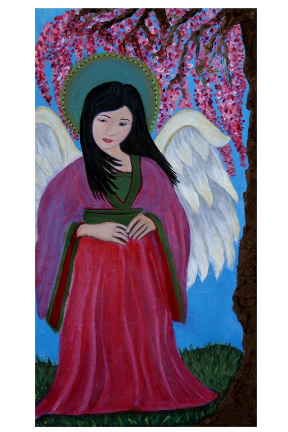 Original Fine Art 8 by 12 print Asian Angel, Child's Room Wall Art, pink, Girl's Room, Cherry Tree, Guardian angel, Child portrait, Angel