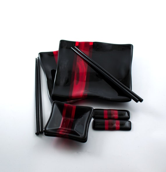 Black And Red Sushi Set Japanese Dinnerware Fused Glass