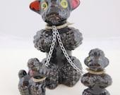1950s Black Poodle Family - Black Poodles - Porcelain Poodle