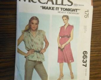 1970 McCalls Pattern 6637 Misses Size Medium (14-16) Misses Pullover Dress or Top