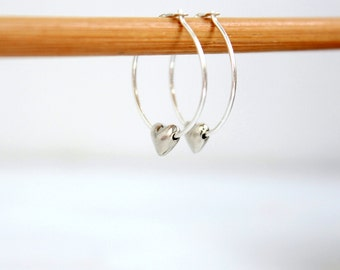 Dainty Sterling Silver Heart Earrings Gift for Her Small Sterling Silver Hoop Earrings Minimalist Handmade Jewelry Love Earrings