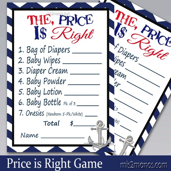 Nautical Chevron Baby Wishes Shower Game Printable Card