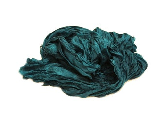 teal silk scarf - Ocean Depth -  teal silk scarf.