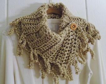 Crochet Button Scarf Cowl Tan Wood Button Loopy Fringe Neckwarmer Scarflette