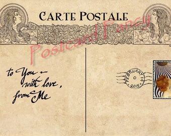 Art Nouveau Digital Download of Vintage Poscard Back to send, text, email your valentine