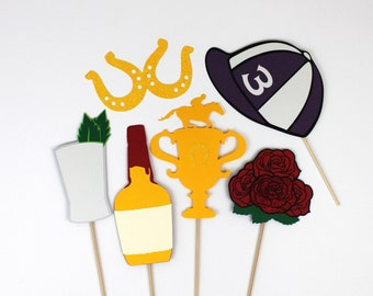 2015 Kentucky Derby Photo Booth Props - Set of 11 includes Roses, Trophy, Jockey Hat, Mint Julep, Maker's Mark Bourbon and Horseshoe Glasses