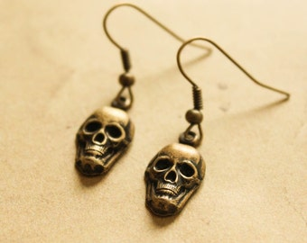 Brass Skull Earrings - Vintage Steampunk Gothic Punk Dangle Earrings