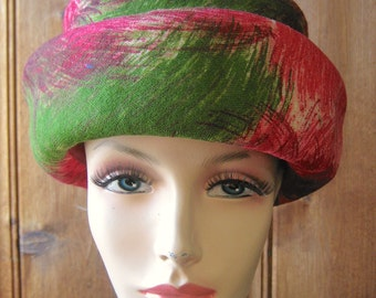 """Brush Strokes Pattern Hat by Sharon - Vintage Ladies' Lined Hat - Bright, Colorful Watercolor Floral - Pink and Green Hat - 21"""" Band Small"""