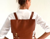 Tabac brown leather backpack / Handmade leather bag / Genuine Italian cow leather