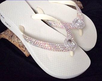 Custom Flip Flops Beach Bride Octagon Rocks w/ Swarovski Crystal Havaianas or Cariris Wedge Baguette Jewel Bling Wedding Thong Shoes