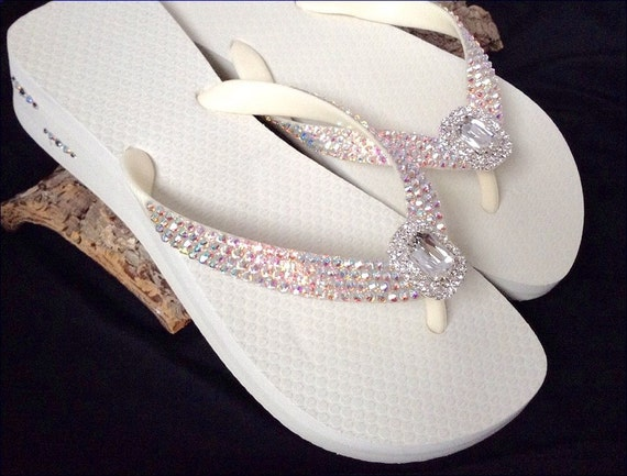 Custom Flip Flops Beach Bride Octagon Rocks w/ Swarovski Crystal Havaianas or Cariris Wedge Baguette Jewel Bling Wedding Thong Shoes