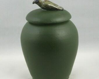 Matte Green Ceramic Jar with Bird knob - hand-thrown stoneware pottery, storage jar, home decor, urn, housewares