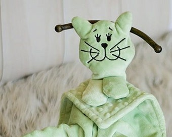 Minky Snuggle Pal Green Kitten Blankie for Baby