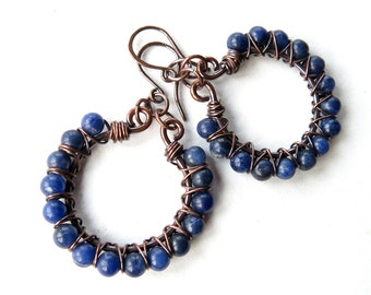 Beaded blue earrings - stone beads copper wire wrapped hoops