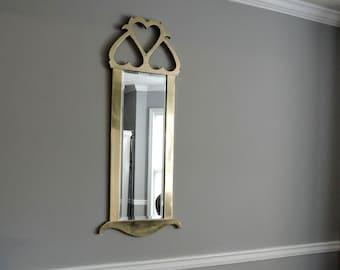 Mid Century Brass Mirror. Hollywood Regency Beveled Mirror.