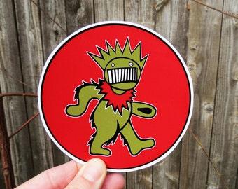 Dancing Boognish Bear / Grateful Dead / Ween / On Red Series / High Quality Vinyl Sticker