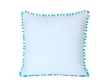 White Linen Pillow with Light Blue Pom Pom Trim