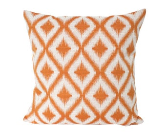Robert Allen Tangerine Ikat Fret Pillow Cover