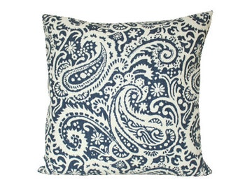 Navy Blue Arta Paisley Decorative Pillow Cover