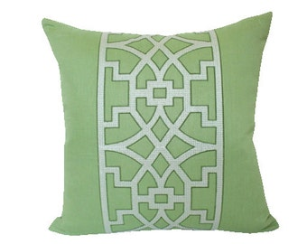 Green Fretwork Pillow Cover by Mary McDonald for Schumacher - Don't Fret on Both Sides