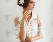 Morceau de cheveux mariée. Serre-tête fleur mariée.