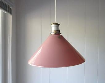 Vintage French Blush Pink / Rose Quartz Glass Shade Pendant Light