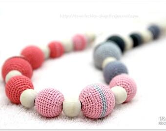 Pastel Nursing necklace - breastfeeding nursing necklace - grey coral pink Mothers DayGift