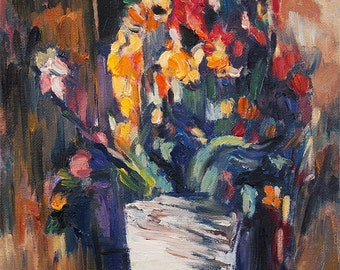 Flowers in Vase Canvas Painting Fine Art Miniature Oil Painting Hand Painted & Ready to Frame 8x10