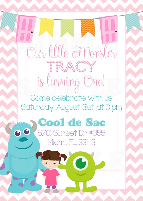 Personalized Monsters Inc Inspired Girls Birthday Invitation
