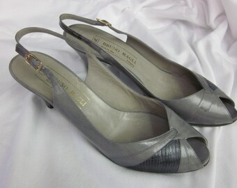 vintage 7.5 aa 1980's BRUNO MAGLI Sling Back PUMPS two tone gray women's shoes Italian G S