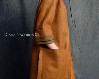 Light spring coat, felted coat ,warm cinnamon color , Topical free silhouette,wool coat, handmade merino coat,  fashion coat , luxury item