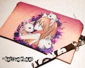 Felininity - Clutch Purse Wristlet Bag - Zippered Pouch - Cosmetic - cats anime girl artwork - ReLove Plan.et