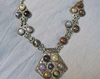 60s Indian Agate and Silver Necklace - Ethnic Beauty