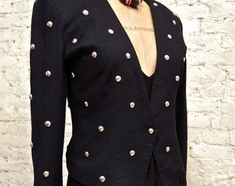 80s Awesome Tina Hagen Black Jacket with Silver Studs