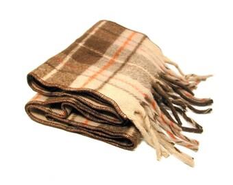 70s Long Wool Scarf, Tan Plaid Scarf. Men's Fringed Scarf, Vintage Winter Scarf
