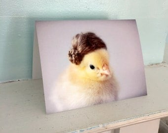 Chicken Card Baby Chick in Miniature Wig Funny Notecard Baby Animal Stationary Bird in A Hat