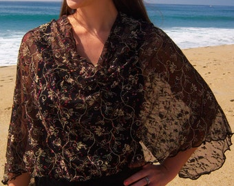 """French Designer Lace """"Cherry Blossom"""" Cowl Neck Poncho Scarf"""