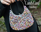 Couture Handbag Purse, Multicolor Beaded Buttons, Rhinestones, Butterfly. By Alchemy Divine Couture