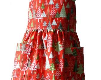 "Mommy's Little Helper  Apron  ""Little Christmas Trees"" print     (matching apron)   size Medium (5 -6)"