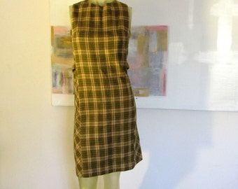 1960s wool dress, 60's plaid jumper, vintage shift dress size 6