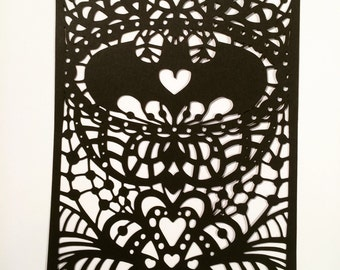 Batman cut paper valentine