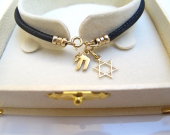 Kabbalah chai star of david 14k solid gold charms Italian black leather bracelet gold luck amulet talisman Jewish symbols bracelet