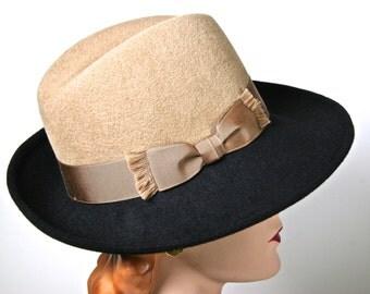 Black and Camel Fedora, Black Felt Womens Fedora Hat, Black Womens Fedora