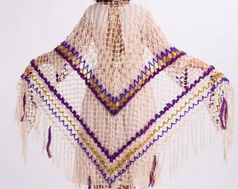 Hand crocheted triangle shawl with Indian sari,Wedding shawl,Cotton crochet shawl,Piano shawl,Festival shawl,Lace shawl,Shawl wrap