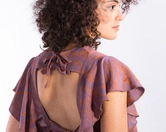 Bohemian tiered dress,Open back dress,New years dress,Boho midi dress,Winter dress