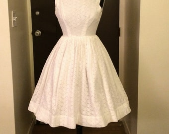 Vintage 1950s White Eyelet Sundress