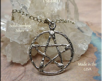 Sterling Silver Pentacle of Besoms Necklace, Broom Pentacle Pendant, Pentagram of Brooms Pendant, Wiccan Jewelry - SE-1603