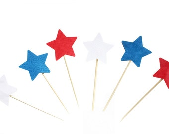 Patriotic Star Cupcake Toppers /  Red White and Blue Cupcake Toppers - Fourth of July Cupcake Toppers - Independence day Cupcake Toppers