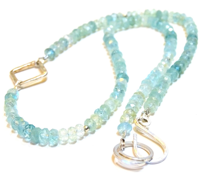 Aquamarine Necklaces: Aquamarine Necklace Micro-faceted Rondelles Aquamarines With