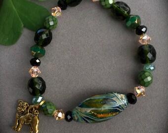 FERN CANYON Bracelet -One of a Kind Lampwork Focal-Khaki & Mustard Foil-Peach Swarovski-Green Pug RESCUE Bracelet-Forest-Green and Gold